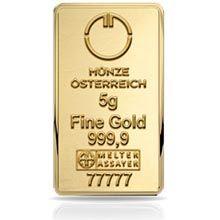 Investiční Zlato Zlatá Cihla 5 Gramů 5199 Kč Münze österreich
