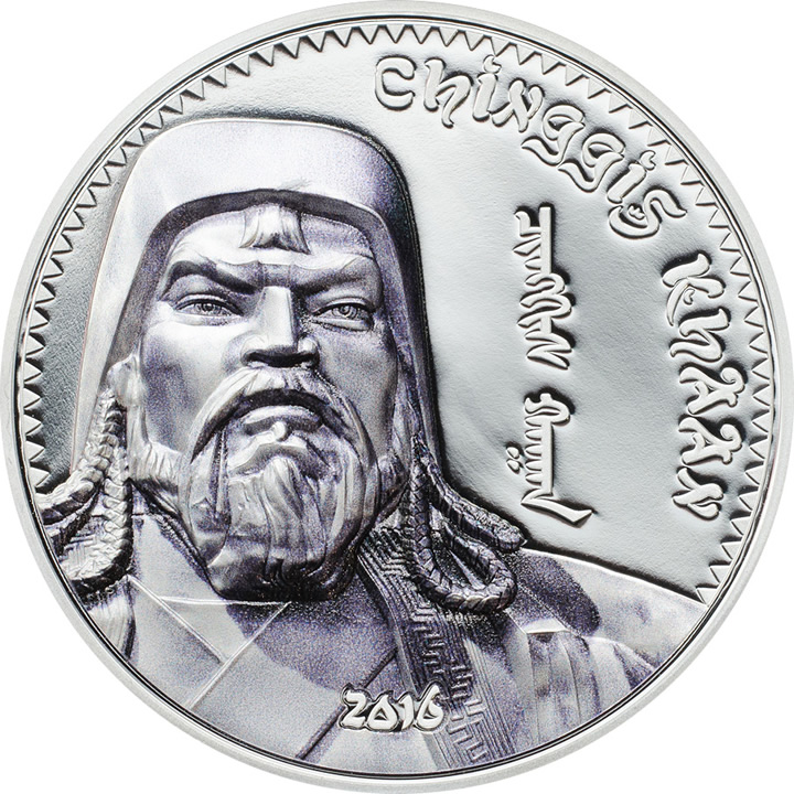 Náhled Averzní strany - 2016 Mongolia - Chinggis Khaan Edition - Ag Proof