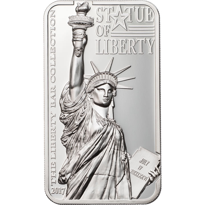 Náhled Averzní strany - 2017 Cook Islands - Statue of Liberty - The Liberty Bar 01 Proof - Ag