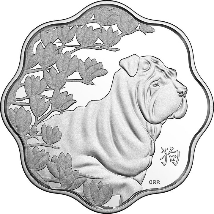 Náhled Averzní strany - Lunar Lotus Year of the Dog 2018 Ag proof